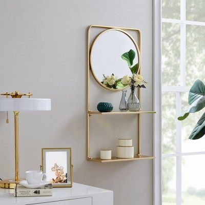 Pharmacy Mirror with Shelves Gold - FirsTime