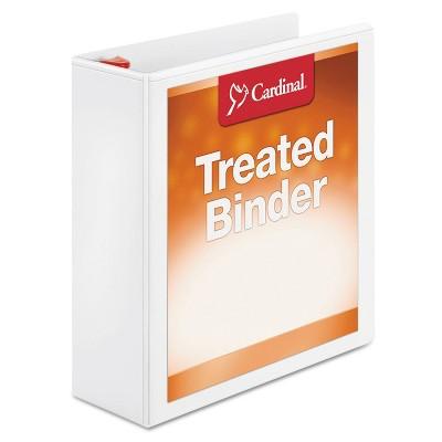 "Cardinal Treated Binder ClearVue Locking Slant-D Ring Binder, 3"" Cap, 11 x 8 1/2, White"