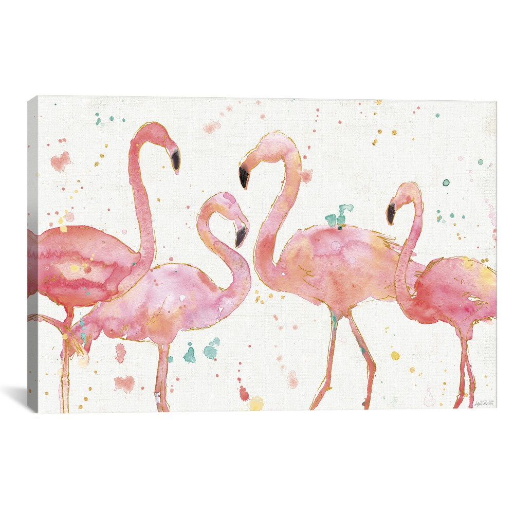 "Image of ""12""""x18"""" Flamingo Fever by Anne Tavoletti Unframed Wall Canvas Print Ivory/Pink - iCanvas"""