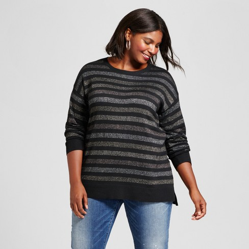Women's Plus Size Crew Neck Pullover Shine Stripe - A New Day™ - image 1 of 3