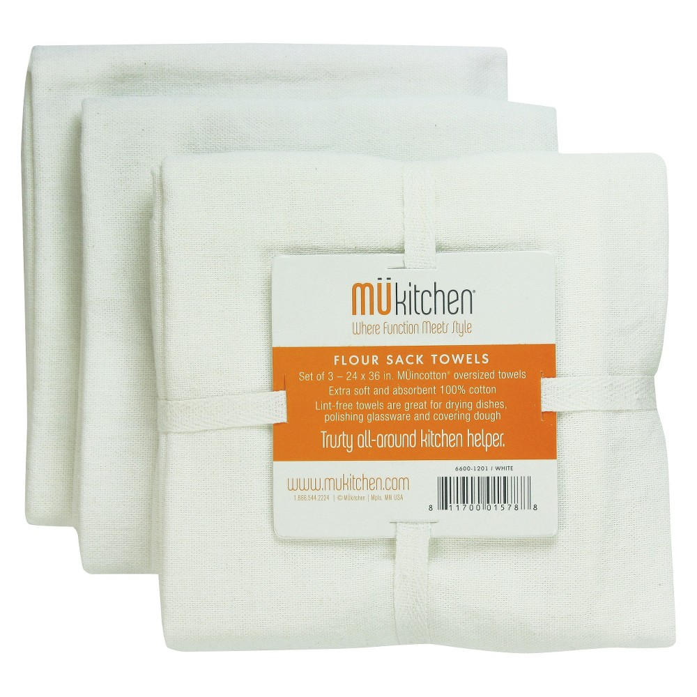 Image of Set Of 3 Cotton Solid Color Flour Sack Towels White - Mu Kitchen