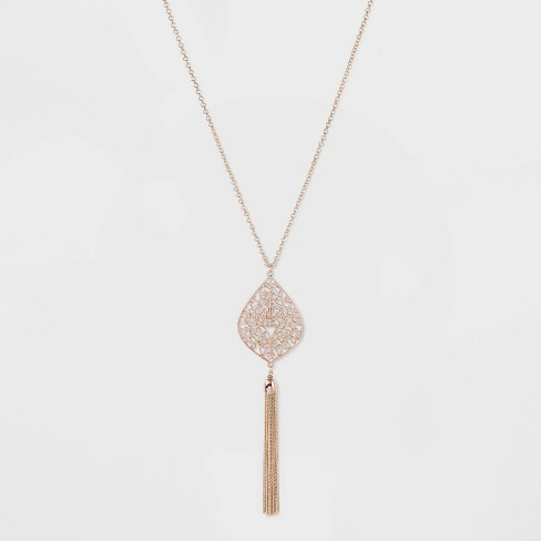 Chain Tassel Filigree Pendant Long Necklace - A New Day™ Rose Gold - image 1 of 3