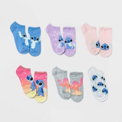 Women's Sparkly Lilo & Stitch 6pk Low Cut Socks - Pink/Purple 4-10