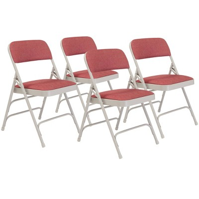 Set of 4 Deluxe Fabric Padded Triple Brace Folding Chairs - Hampton Collection