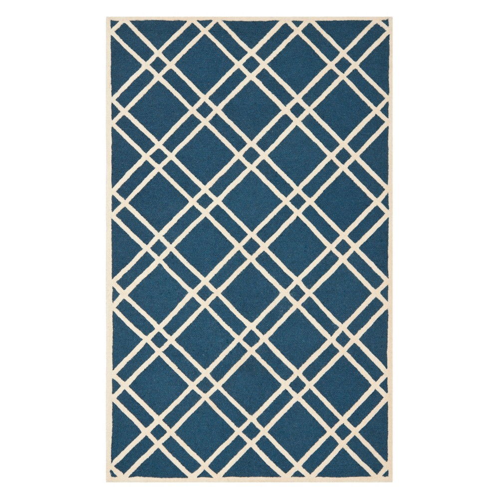 6'X9' Geometric Area Rug Navy Blue/Ivory - Safavieh