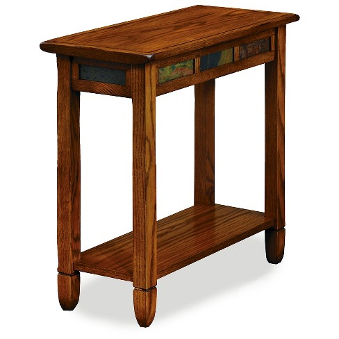 Rustic Slate Chairside End Table Oak Leick Home