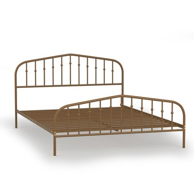 Costway Queen size Metal Bed Frame Steel Slat Platform Headboard Bedroom Antique Brown