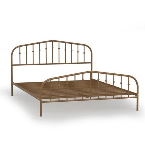 Costway Queen size Metal Bed Frame Steel Slat Platform Headboard Bedroom Antique Brown - image 1 of 4