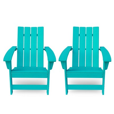 Encino 2pk Resin Contemporary Adirondack Chairs - Teal - Christopher Knight Home
