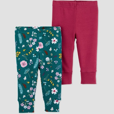 Baby Girls' 2pk Floral Leggings - Just One You® made by carter's 9M Green