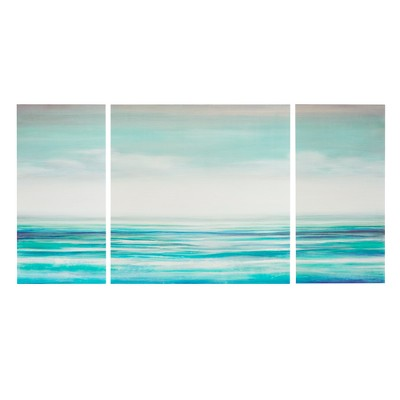 "(Set of 3)30"" Height Teal Tides Gel Coat Canvas Decorative Wall Art Set Blue"