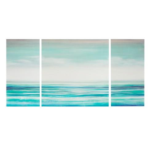 Teal Tides Gel Coat Canvas 3pc Decorative Wall Art Set Blue - image 1 of 4