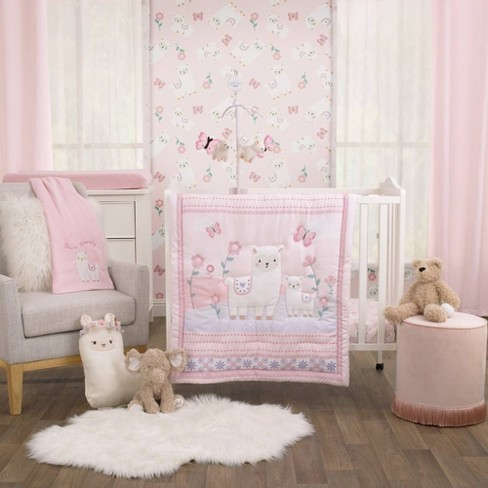Little Love By Nojo Sweet Llama And Butterflies Mini Crib Bedding Set 3pc Target