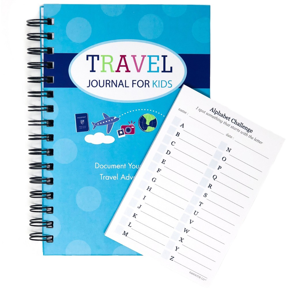 "Image of ""Travel Journal for Kids 8.5""""x5.5""""& Sticky Pad Bundle Teal - Kahootie Co, Blue"""