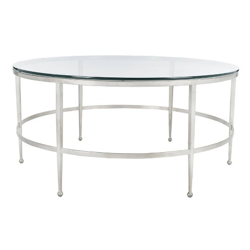 Edmund Antique Silver Glass Cocktail Table Antique Silver - Safavieh - image 1 of 4