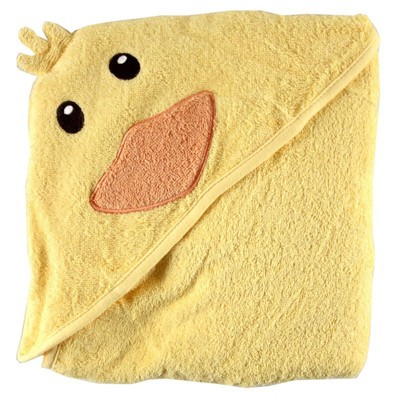 Luvable Friends Baby Unisex Cotton Animal Face Hooded Towel, Duck, One Size