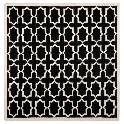 Aklim Dhurry Rug - Black/Ivory - (8'x8' Square) - Safavieh - image 1 of 3