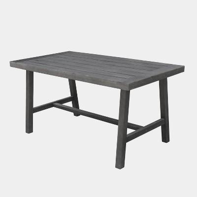 Malibu Rectangle Outdoor Patio Picnic Dining Table - Gray - Vifah