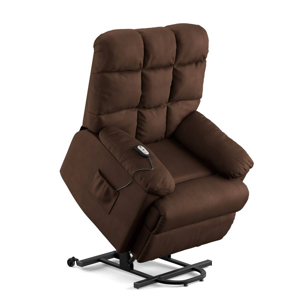 Image of Prolounger Microfiber Power Recline and Lift Wall Hugger Chair Brown - Handy Living