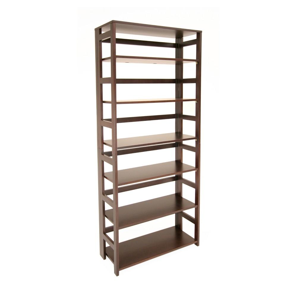 "Image of ""67"""" Flip Flop High Folding Bookcase Mocha Walnut - Niche, Brown"""