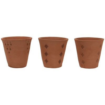 Set of 3 Natural Handthrown Terracotta Embossed Stamped Planters - Foreside Home & Garden