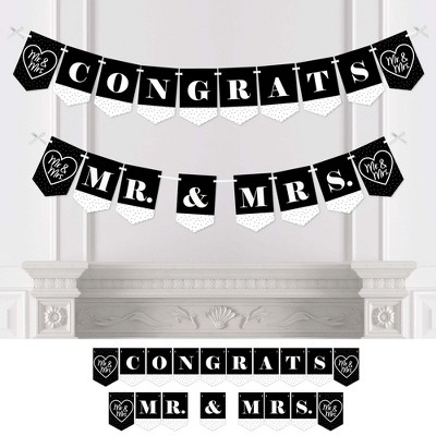 Big Dot of Happiness Mr. and Mrs. - Black and White Wedding or Bridal Shower Bunting Banner - Party Decorations - Congrats Mr. and Mrs.