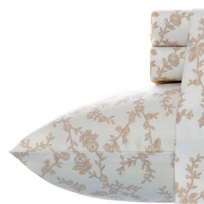 Laura Ashley Victoria Flannel Sheet Set Queen - Beige