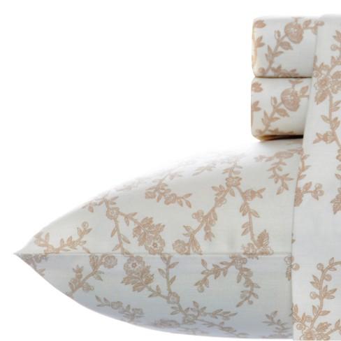Laura Ashley Victoria Flannel Sheet Set - Beige - image 1 of 3