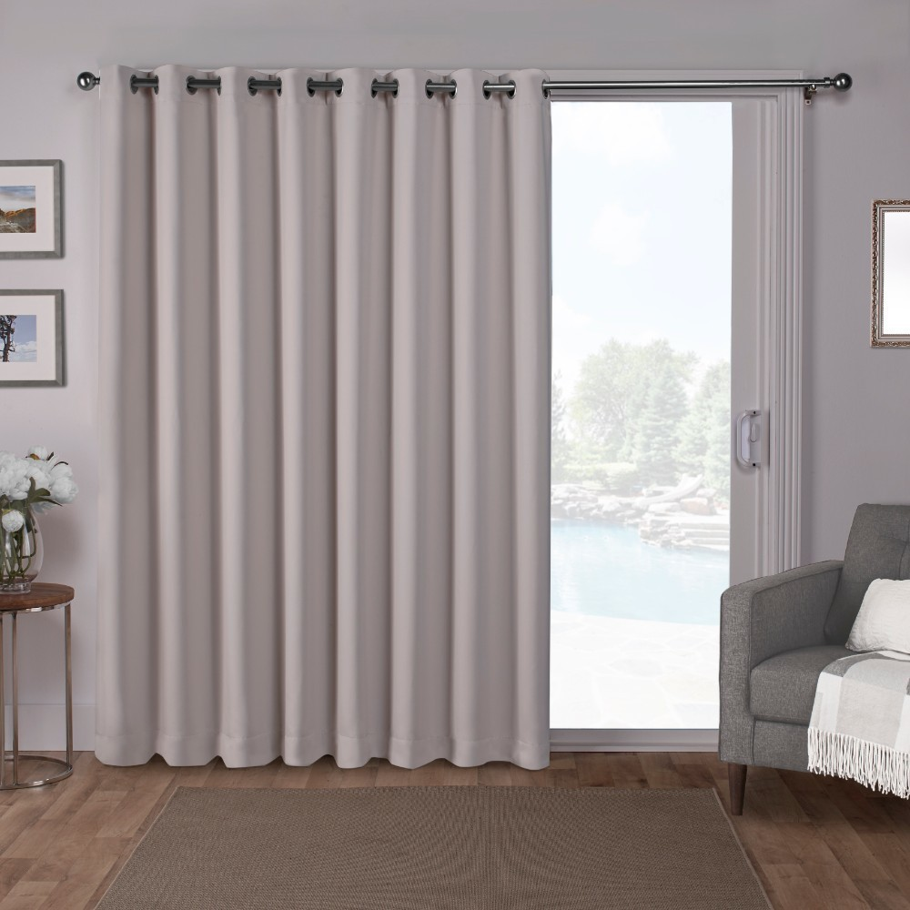 "Image of ""100""""x84"""" Sateen Blackout Solid Grommet Top Extra Wide Curtain Panel Silver - Exclusive Home"""