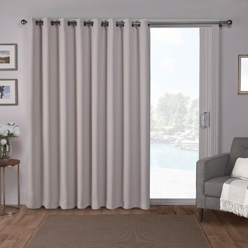 Sateen Blackout Solid Grommet Top Wide Patio Curtain Panel Silver