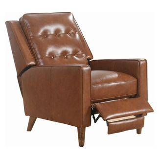 Calvin Mid Century Top Grain Leather Pushback Recliner Camel - Abbyson Living