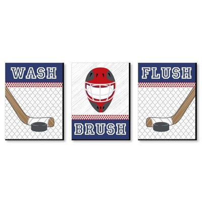 Big Dot of Happiness Shoots and Scores - Hockey - Kids Bathroom Rules Wall Art - 7.5 x 10 inches - Set of 3 Signs - Wash, Brush, Flush