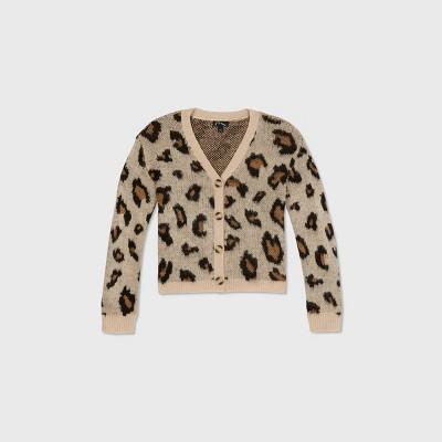 Girls' Leopard Print Cardigan - art class™ Tan