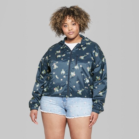 2449d04c478 Women s Floral Print Plus Size Cropped Windbreaker - Wild Fable™ Navy    Target
