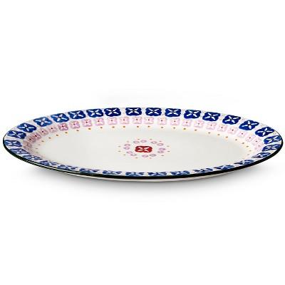 Floral Ceramic Serving Platter - Multicolored
