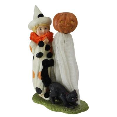 """Northlight 7.5"""" Pumpkin Head Ghost Halloween Decoration - White/Orange"""