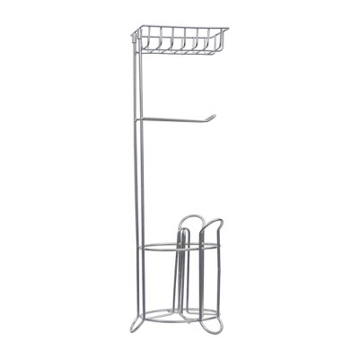 Standing Tissue Roll Holder with I-phone Storage Silver Finish - Nu Steel