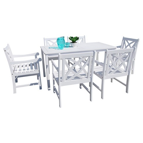 7 Piece Bradley Eco Friendly Outdoor White Hardwood Dining Set With Rectangle Table And Arm Chairs Vifah