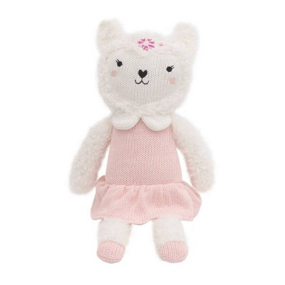 Cuddle Me Lolly The Llama Knit Plush Stuffed Animal - White and Pink