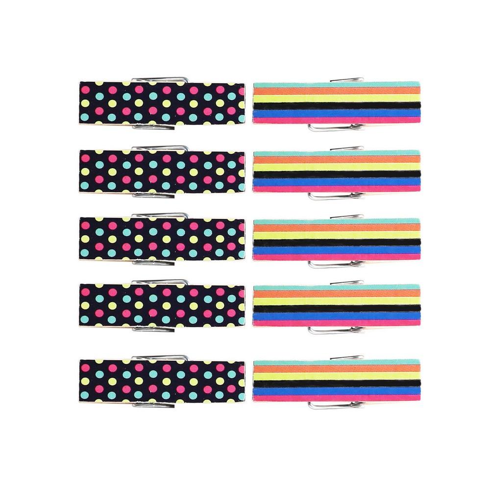 10ct Warm Mini Clothes Pins - Spritz, Multi-Colored