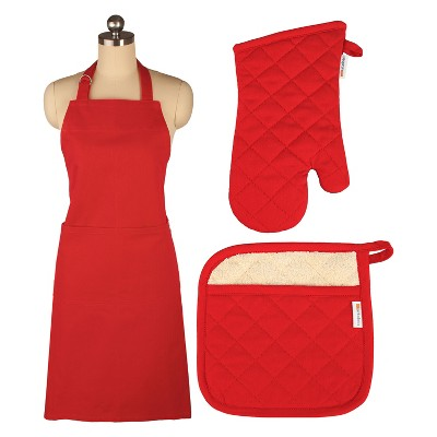 Cooking Apron/Mitt/Potholder Red 3pc Set -Mu Kitchen
