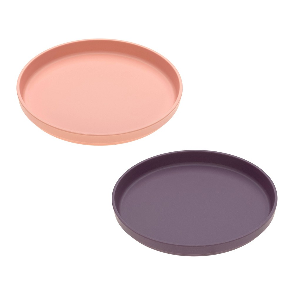 Image of Lassig Bamboo Plate Set - 2pc Peach/Plum, Pink/Purple