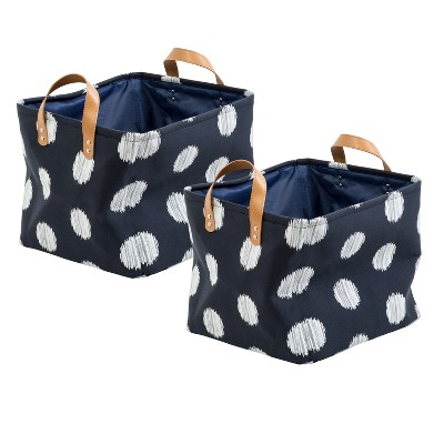 Honey-Can-Do Set of 2 Cube Storage Bin Navy