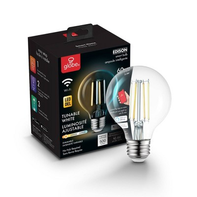 Smart 60W Equivalent Vintage Filament Tunable White LED Wi-Fi Enabled Voice Activated G25 E26 Light Bulb