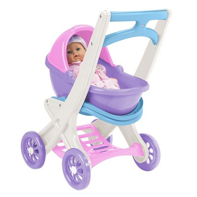 American Plastic Toys 20250 Toddlers On the Go Baby Doll Stroller Buggy & Cradle