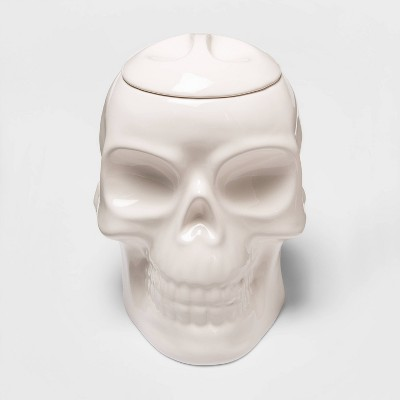 White Skull Ceramic Halloween Candy Jar (with Lid)- Hyde & EEK! Boutique™