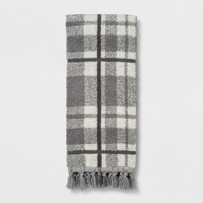 Neutral Plaid with Fringe Hand Towel Classic Grey - Threshold™