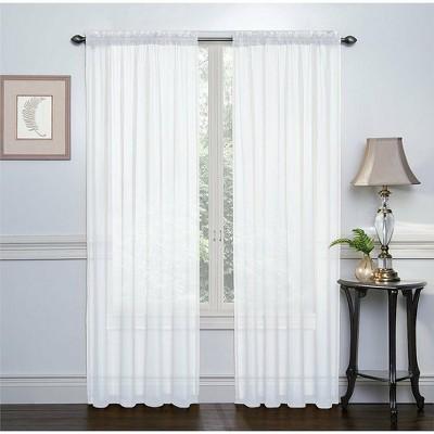 GoodGram 2 Pack: High Woven Elegant White Sheer Curtains - 52 in. W x 84 in. L, White