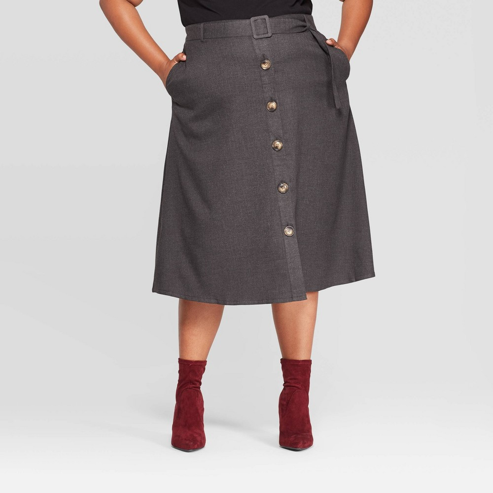 60s Skirts | 70s Hippie Skirts, Jumper Dresses Womens Plus Size Button Front Skirt - Ava  Viv Dark Gray X $27.99 AT vintagedancer.com
