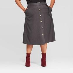Women's Plus Size Button Front Skirt - Ava & Viv™ Dark Gray
